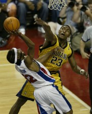 Rip Hamilton went to the basket against Ron Artest during the second quarter.