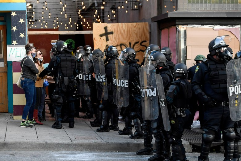 Asheville police surround a medic station created by protesters June 2.