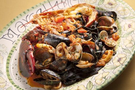 The Santa Lucia squid infused fettuccine with seafood at Marcellino Ristorante.