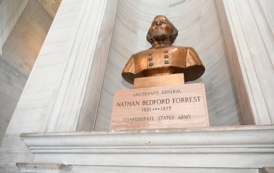 A bust of Nathan Bedford Forrest is on display in the Tennessee state Capitol on June 11, 2020.