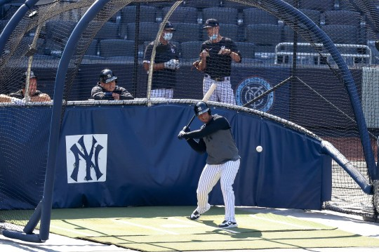 Jul 5, 2020; Bronx, New York, United States; New York Yankees second baseman Gleyber Torres (25) hits the ball during workouts at Yankee Stadium. Mandatory Credit: Vincent Carchietta-USA TODAY Sports