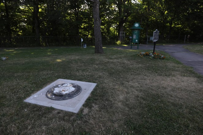 The statue of Frederick Douglass was found vandalized in Maplewood Park in Rochester, NY over the July 4 weekend.