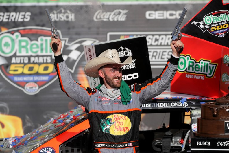 Austin Dillon celebrates after winning the O'Reilly Auto Parts 500 at Texas Motor Speedway.