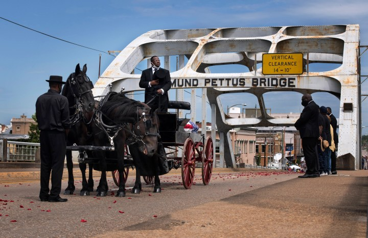 John Lewis funeral: Final journey across Edmund Pettus Bridge