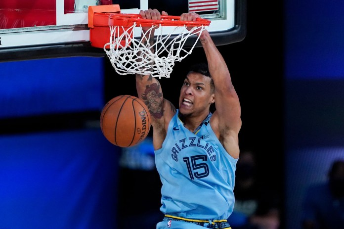 Aug. 2: Grizzlies forward Brandon Clarke throws down the two-handed flush against the Spurs