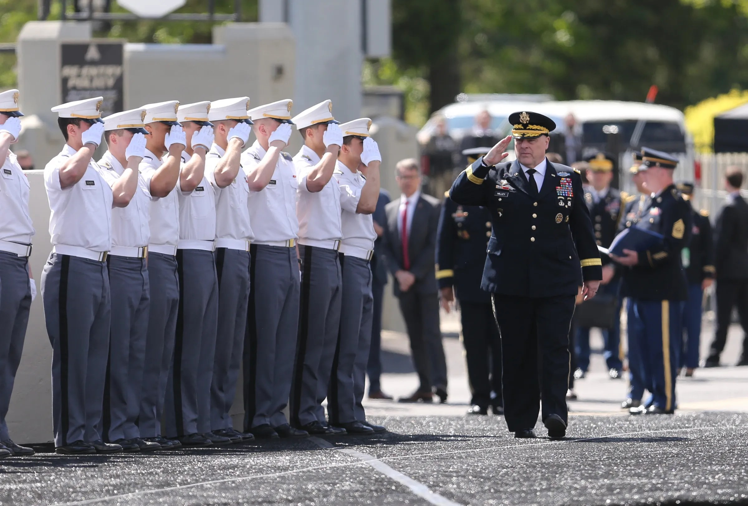 Then Army Chief of Staff Gen. Mark Milley (now chairman of the Joint Chiefs of Staff) enters Michie Stadium for the 221st graduation and commissioning ceremony at the United States Military Academy at West Point onMay 25, 2019. Cadets graduate and are commissioned as Army 2nd lieutenants.