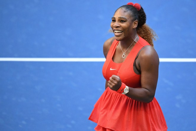 Serena Williams of the United States celebrates after match point against Sloane Stephens of the United States (not pictured) on day six of the 2020 U.S. Open tennis tournament at USTA Billie Jean King National Tennis Center.