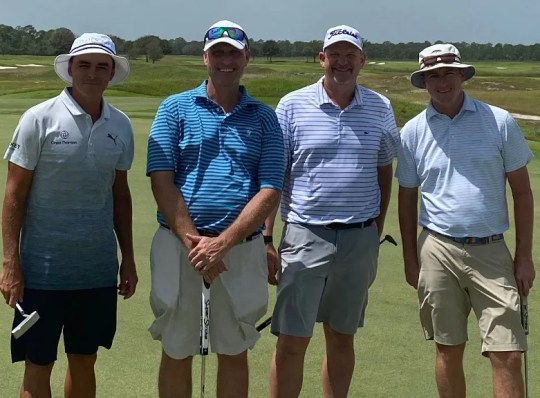 From left, Rickie Fowler, Trevor Gliwski, Tom Gillis and Jimmy Kenney at The Grove XXIII on Saturday.
