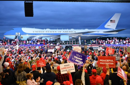 President Donald Trump addresses supporters during a campaign rally at MBS International Airport in Freeland, Michigan on September 10, 2020.