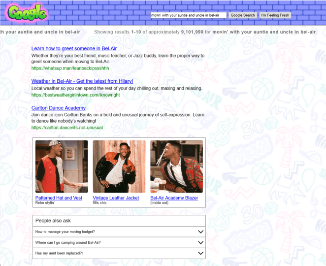 "Google's ""The Fresh Prince of Bel-Air"" wrap."