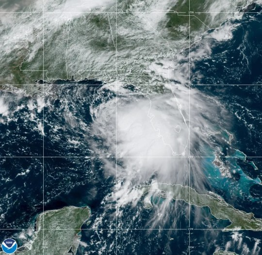 Tropical Storm Sally moves west-northwestward through the Gulf of Mexico in this NOAA NESDIS STAR GOES East satellite photo taken Sunday, Sept. 13. The storm is expected to strengthen to a hurricane on Monday, and make landfall along the northern Gulf Coast overnight Monday. Credit: NOAA