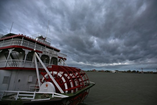 Clouds move over the Mississippi River and the riverboat City of New Orleans as New Orleans begins to feel the effects of Hurricane Sally.