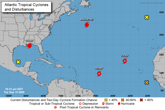 The National Hurricane Center was tracking seven systems on Sept. 15, 2020, two hurricanes, two tropical storms and three potential systems. If one of those potential systems is assigned the last name on the list of 2020 storm names, the center will turn to the Greek alphabet.