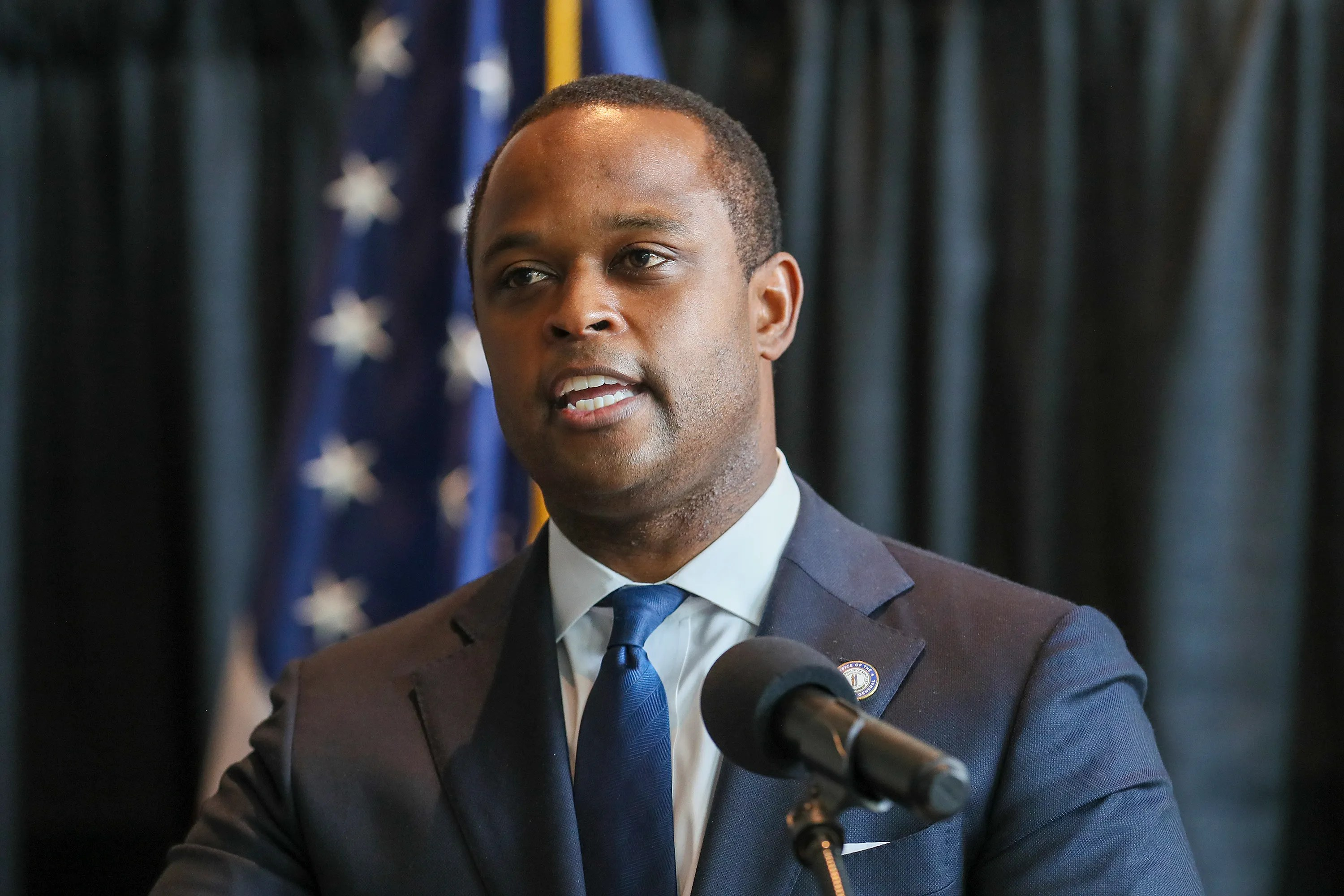 Kentucky Attorney General Daniel Cameron speaks at a press conference in Frankfurt on Wednesday, September 13, 2020, on the results of his office's review of the Breonna Taylor shooting case.