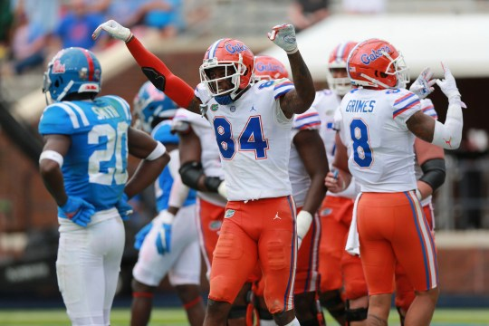 Florida receiver Kyle Pitts celebrates his fourth touchdown of the day against Mississippi.