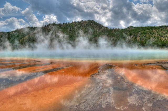 Yellowstone National Park in Wyoming and Montana features picturesque geysers, hot springs and wildlife.
