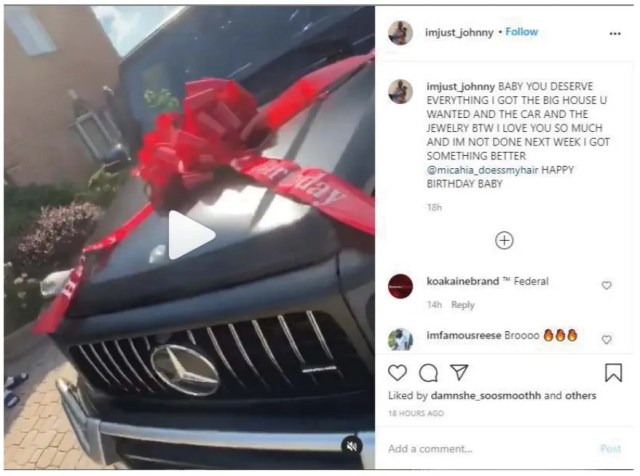 Johnny Richardson posted on Instagram that he purchased a new Mercedes-Benz for girlfriend Micahia Taylor. Both have been charged with fraud.