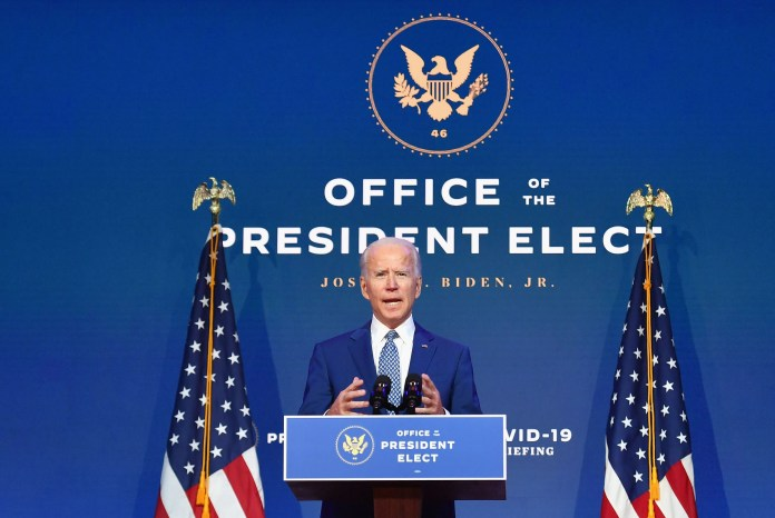 President-elect Joe Biden delivers remarks at the Queen in Wilmington, Delaware, on November 9, 2020. President Donald Trump was still refusing to concede his election loss November 9, 2020, but Democrat Joe Biden plowed ahead anyway with the first meeting of a parallel coronavirus task force, initiating an awkward and potentially volatile transition period.