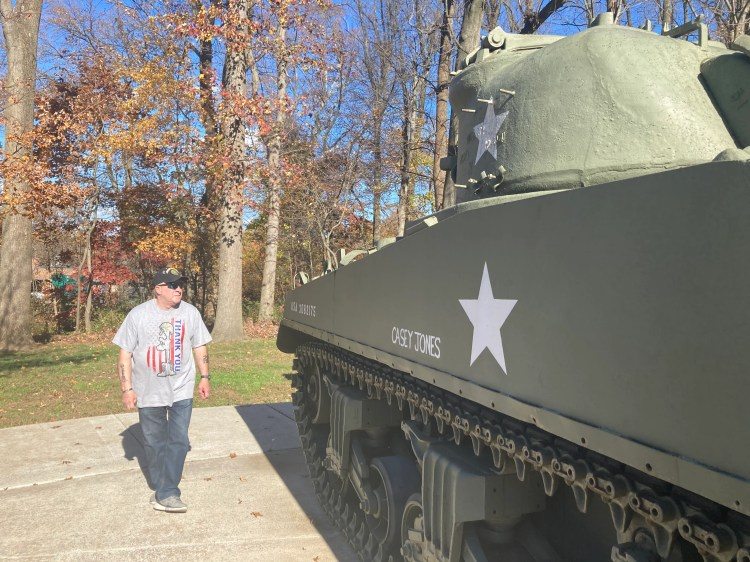 """""""I've been a member of various veterans groups and I just started talking to veterans and they say, 'Never heard of it.' Nobody ever heard that 22 veterans a day commit suicide,"""" said Steve Gibson, pictured at the WWII """"Casey Jones"""" tank in Middletown Veterans Memorial Park . """"And I'm wondering why. Why is this allowed to happen in this country?"""""""