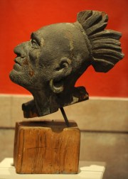 The wooden head likeness of Squanto, the only surviving piece of the wooden pediment that was installed on the Pilgrim Hall Museum building in 1880.