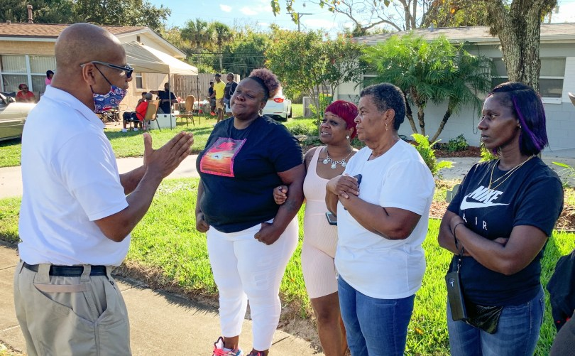 In Cocoa, near the scene of the deputy-involved shooting that left two teens dead. At left, Randy Foster, incoming Palm Bay City Council member, talks with Quasheda Pierce, mother of Sincere Pierce, one of the teens killed. Others pictured include family friend LaJoyce Jones, Cynthia Byrd-Green, Sincere's aunt, and Tasha Strachan, mother of A.J. Crooms, the other teen killed. The mothers of  Sincere Pierce,and A.J. Crooms, are seeking answers.