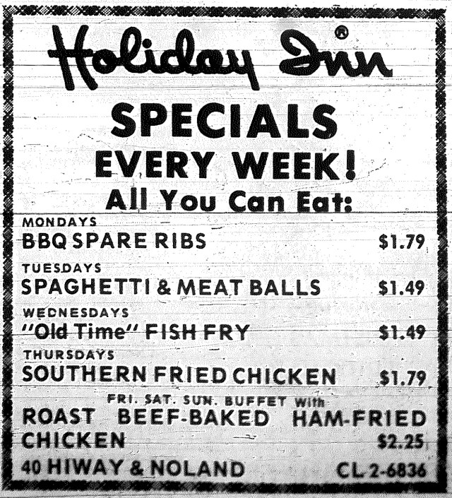Eating out cost less half a century ago, as seen in this ad in The Examiner 50 years ago this week.