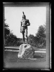 A statue of Massasoit, great Sachem of the Wampanoags, Protector and Preserver of the Pilgrims, 1621, stands in Plymouth, Mass.