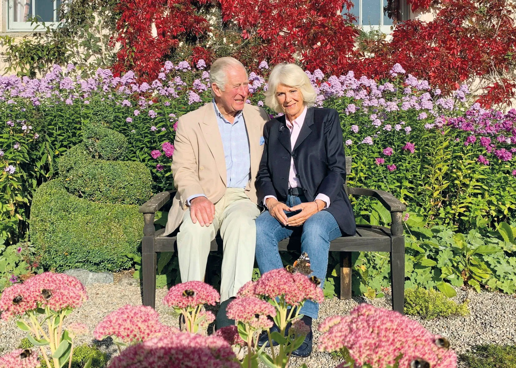 Behold, the gardens featured in the 2020 Christmas card of Prince Charles and Camilla, Duchess of Cornwall taken at Birkhall, Scotland.