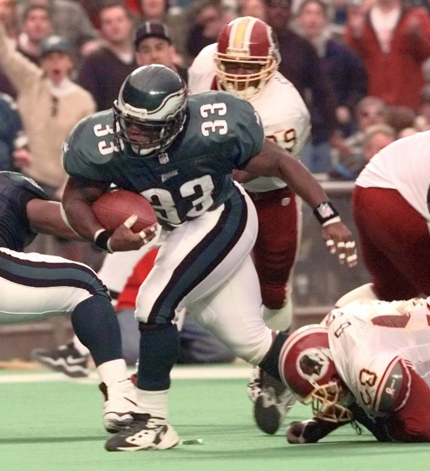 Eric Bieniemy rushed for 1,589 yards over nine NFL seasons, including 75 yards during his final season while playing for Andy Reid and the Eagles.