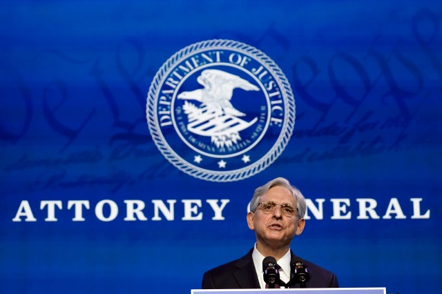 """Attorney general nominee Merrick Garland says he looks forward to a """"homecoming"""" at the Justice Department."""
