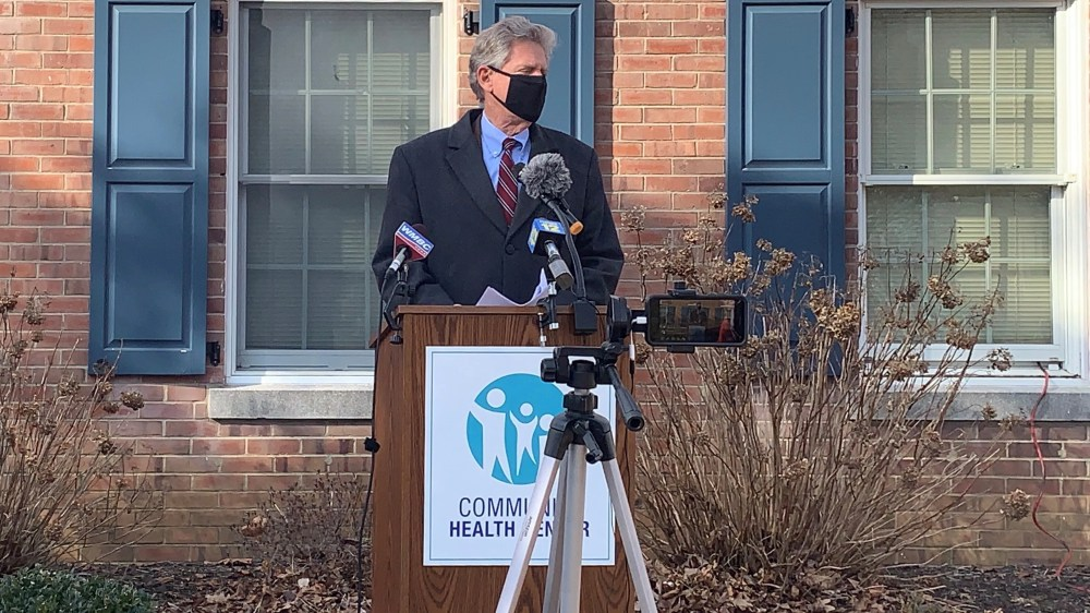 U.S. Rep. Frank Pallone Jr. D-N.J.  speaks Tuesday about the federal effort to provide COVID-19 vaccines in front of the Community Health Center of Asbury Park.