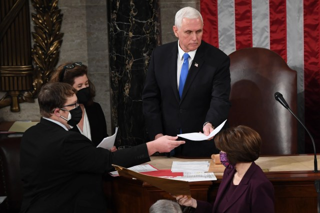 Vice President Mike Pence presides over a joint session of Congress on January 06, 2021 in Washington, DC.