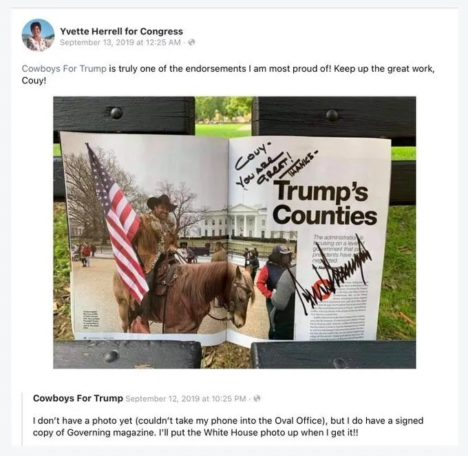"""In a Facebook post deleted on Monday, Yvette Herrell's campaign account wrote: """"Cowboys For Trump is truly one of the recommendations I'm most proud of!"""" and gave founder Couy Griffin a shout out."""
