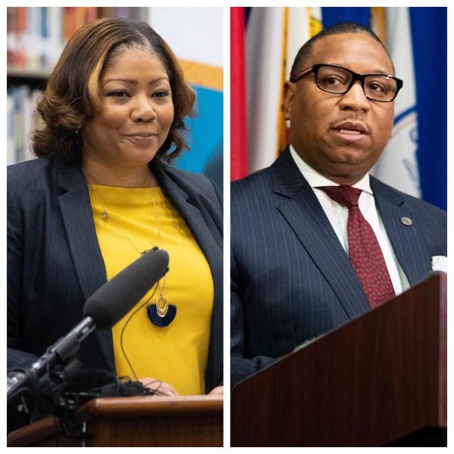 Metro Nashville Public Schools Director Adrienne Battle, left, and Shelby County Schools Superintendent Joris Ray, right.