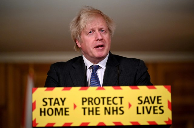 Britain's Prime Minister Boris Johnson speaks during a virtual press conference on the novel coronavirus COVID-19 pandemic, at 10 Downing Street in central London on Jan. 22, 2021.