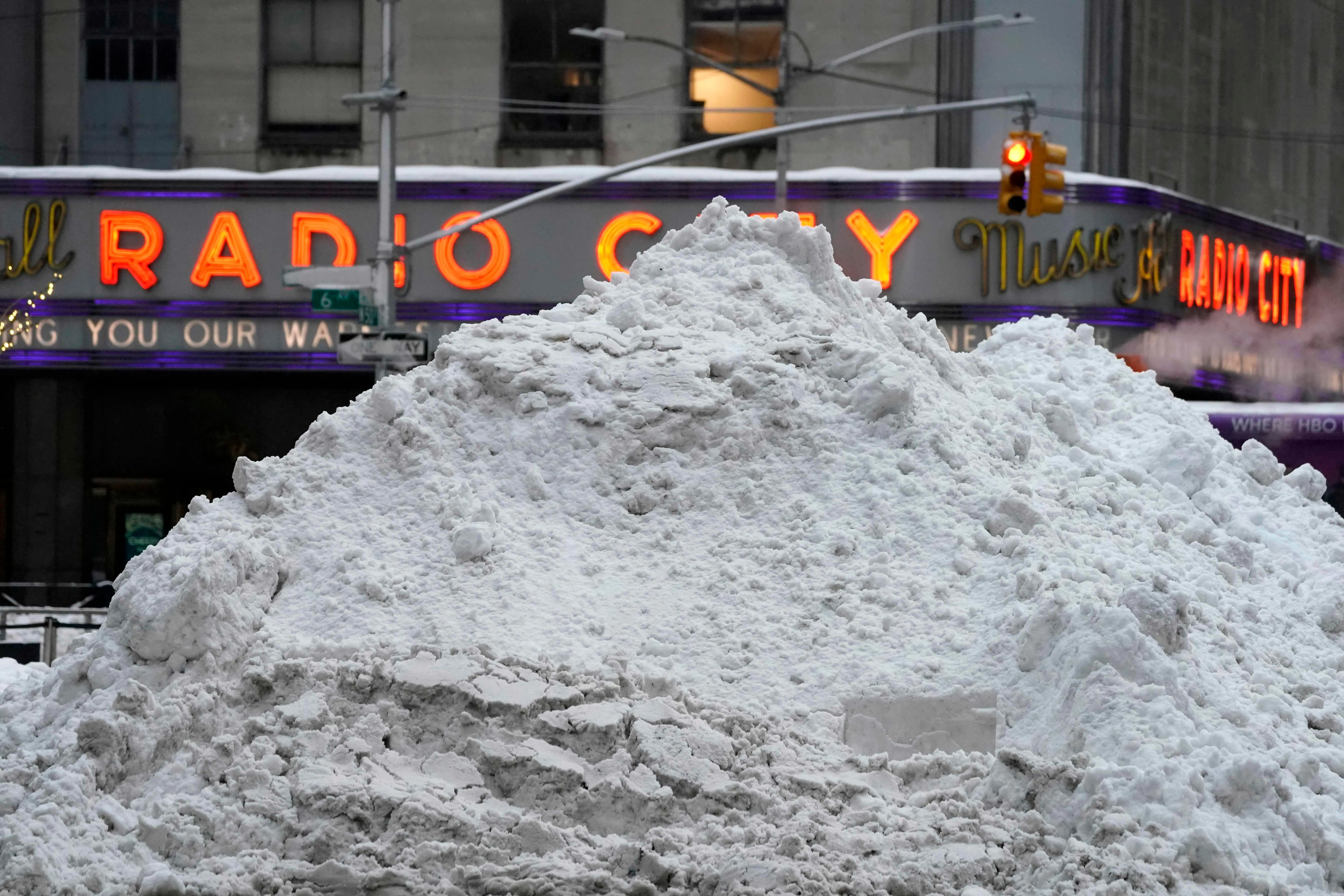 A mound of snow is seen outside Radio City Music Hall in New York on Feb. 2, 2021