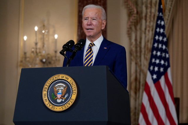 President Joe Biden speaks about foreign policy, at the State Department, Thursday, Feb. 4, 2021, in Washington.