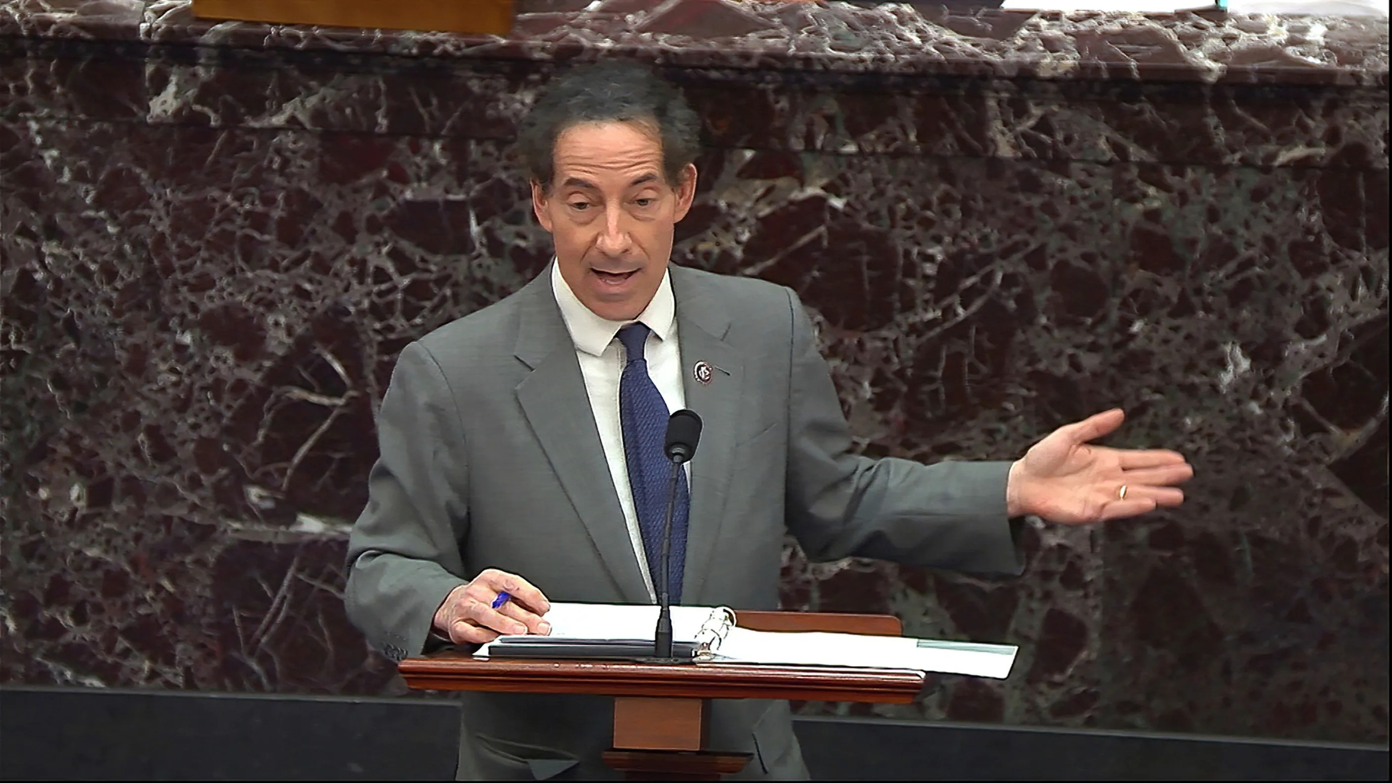 "House impeachment manager Jamie Raskin, D-Md., says former President Donald Trump was no ""innocent bystander"" during the violence at the Capitol."