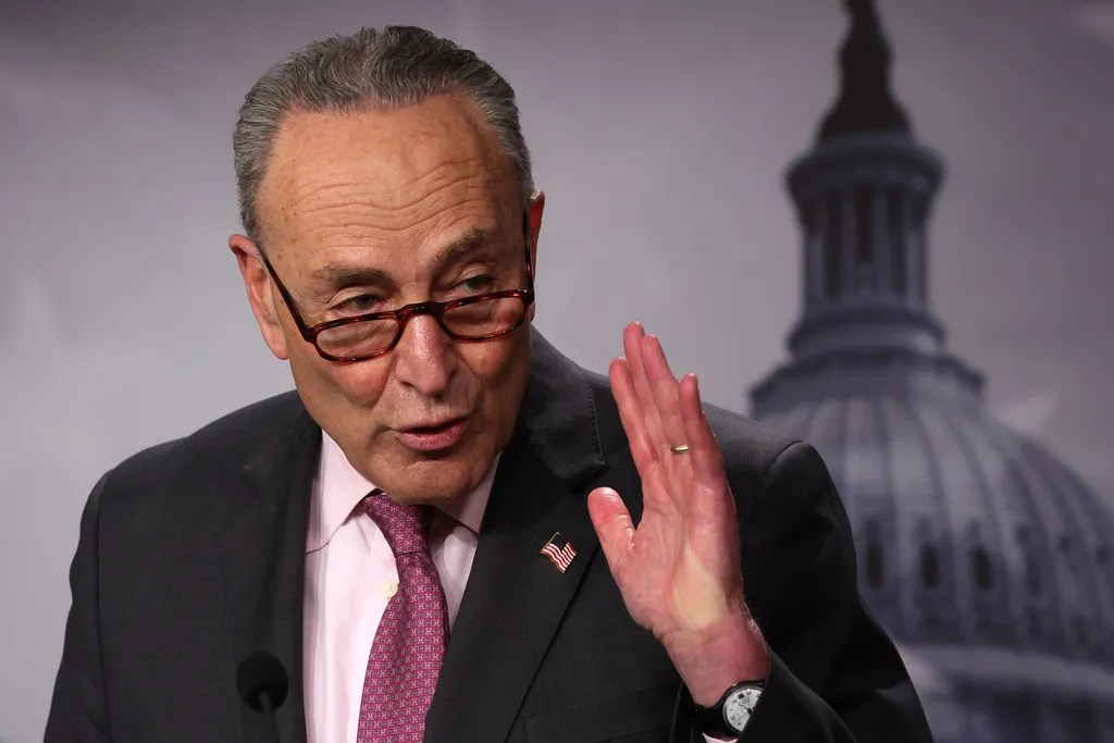 U.S. Senate Majority Leader Chuck Schumer, D-NY, thanked Senate clerks who read the COVID-19 stimulus bill for more than 10 hours.