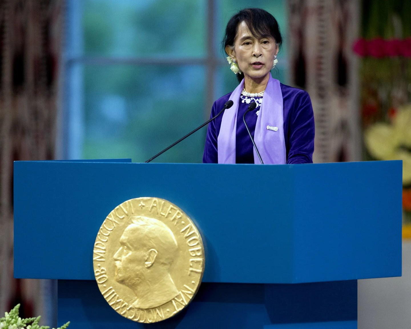 Nobel Peace Prize laureate, Myanmar opposition leader Aung San Suu Kyi gave her Nobel lecture in Oslo on June 16, 2012.