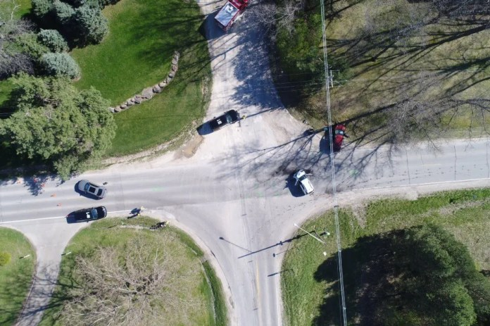 Aerial footage of a traffic accident captured by one of Livingston County Sheriff's Department's small unmanned aircraft systems, more commonly referred to as a drone.
