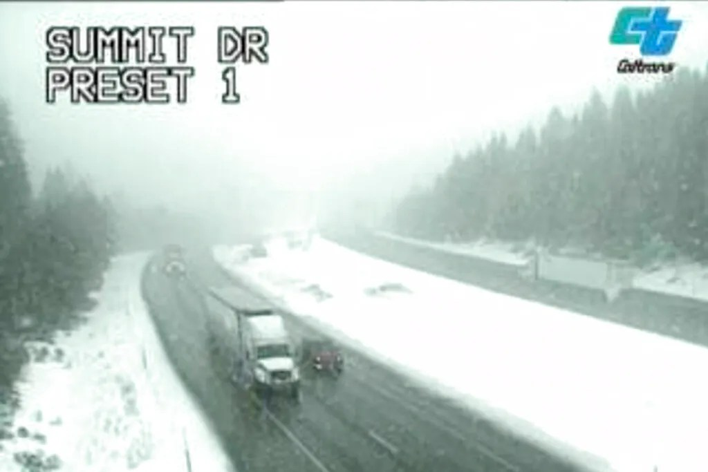 In this image taken from video from a Caltrans remote video traffic camera, traffic makes its way through snow showers along Interstate 5 at Summit Drive near Mt. Shasta, Calif., on Tuesday, March 9, 2021.