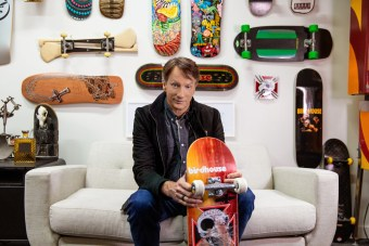 Tony Hawk donated 100 vials of blood to be infused with paint and used on skateboard decks that sold for $500 each. The proceeds benefit two nonprofits.