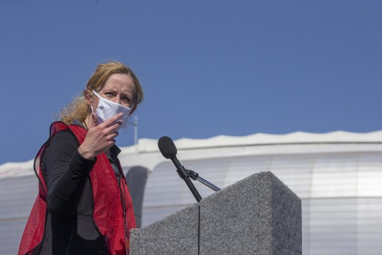 Arizona Department of Health Services Director Dr. Cara Christ answers questions from the media regarding the state's announcement that anyone 16 and older can get a COVID-19 vaccine, pictured at State Farm Stadium in Glendale, Ariz., on March 22, 2021.