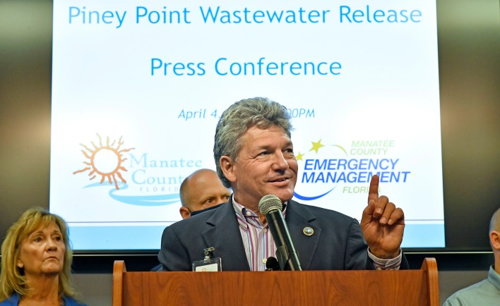 Dr. Scott Hopes, acting Manatee County administrator, said that there is now below 300 million gallons of water left to be pumped from the leaking reservoir, during the Piney Point Wastewater Release press conference held at Manatee County's Public Safety Department in Bradenton, Florida, on Sunday afternoon, April 4, 2021.