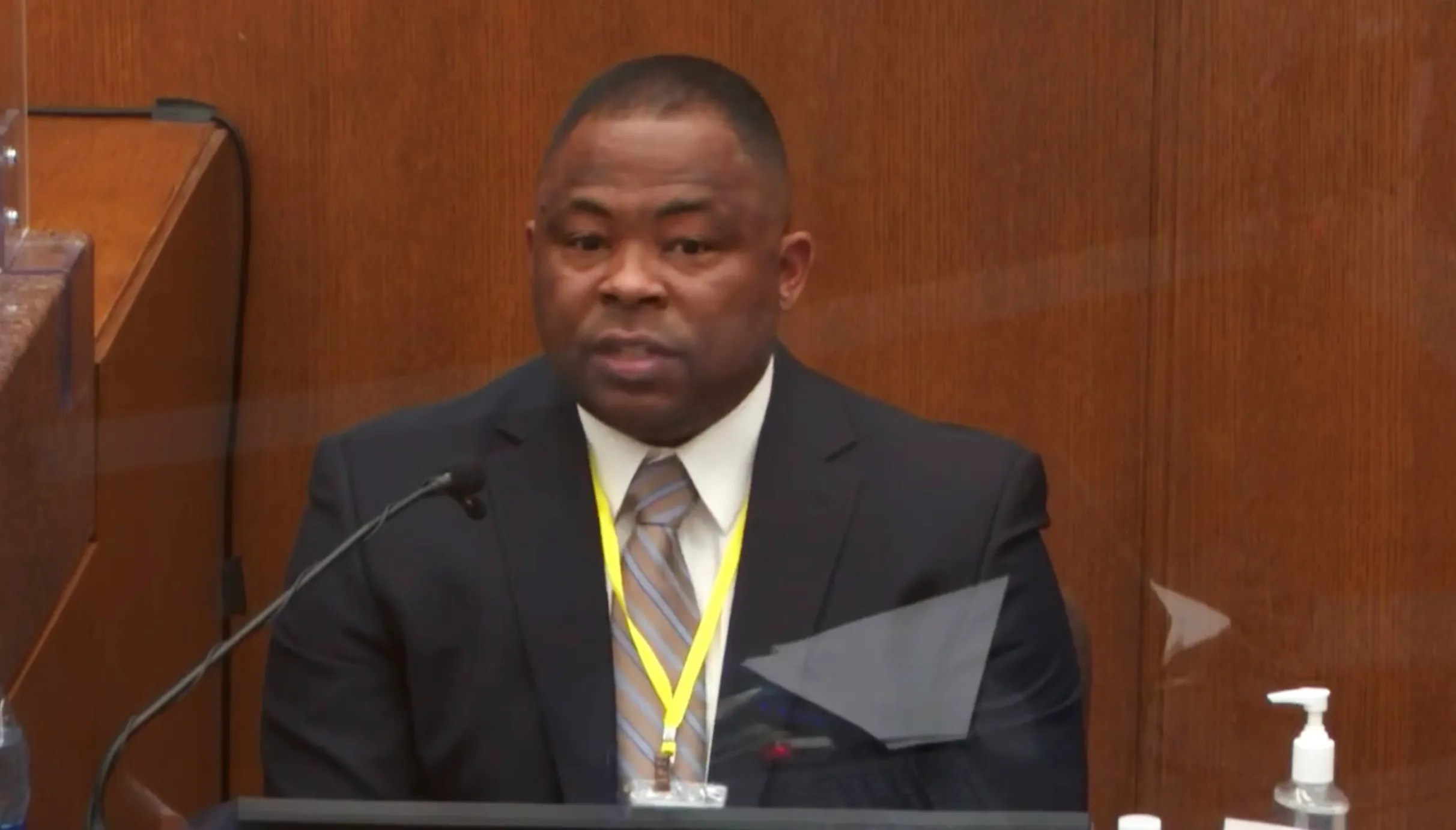 In this image from video, witness Jody Stiger, a Los Angeles Police Department sergeant testifies as Hennepin County Judge Peter Cahill presides Tuesday, April 6, 2021.