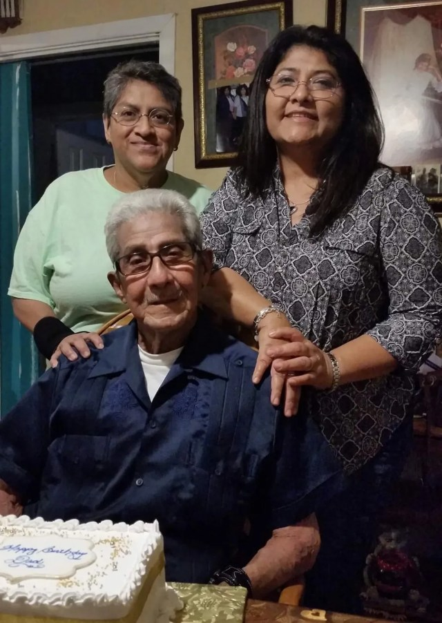 Guadalupe Ramirez (back left) with her partner Diane Muniz and her late-father, Celedonio Ramirez. Guadalupe, who was at high risk for serious COVID-19, received monoclonal antibodies after her positive diagnosis in January 2020.