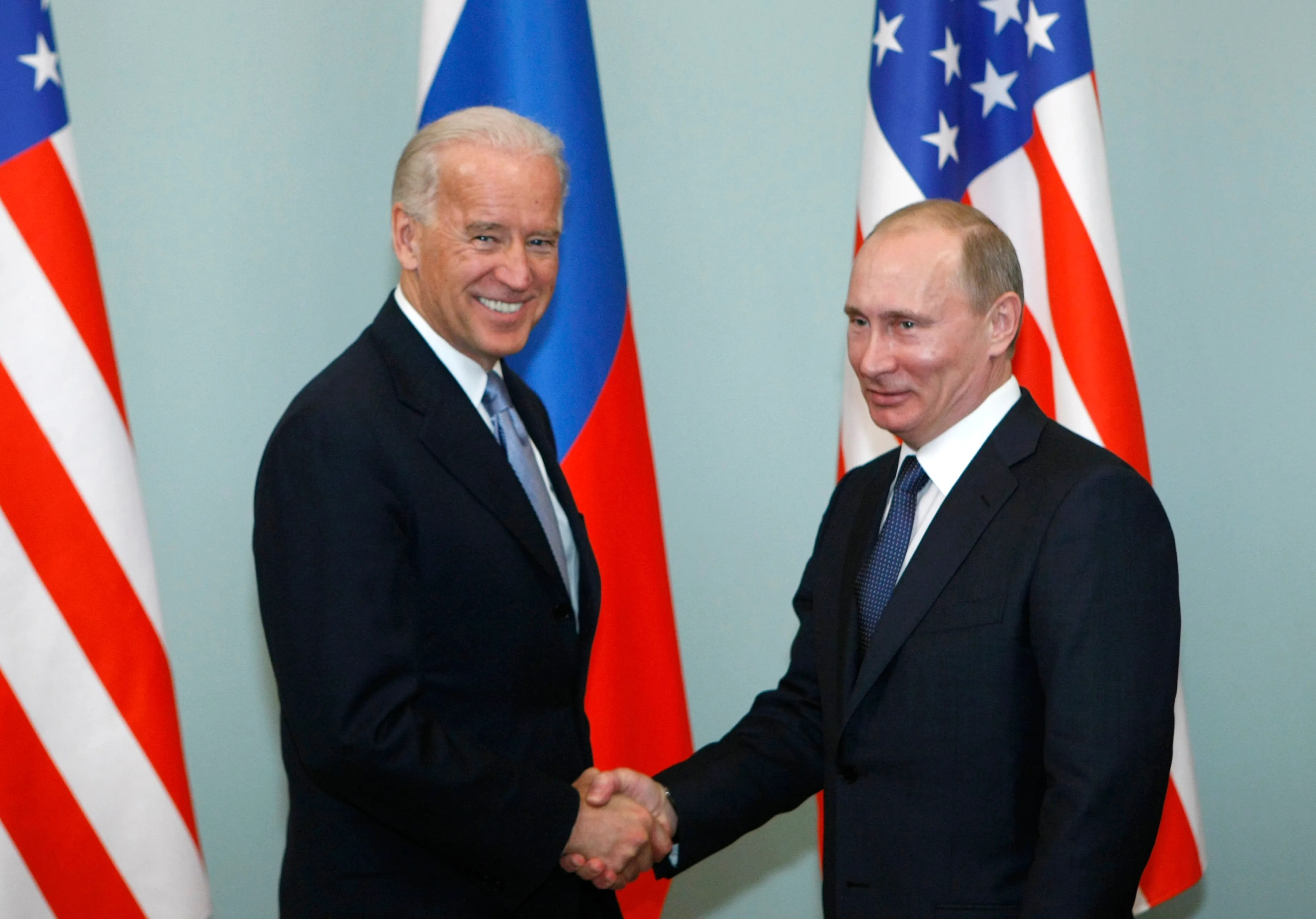 Then-Vice President Joe Biden and Russian Prime Minister Vladimir Putin March 10, 2011 in Moscow.