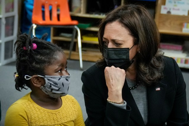 Vice President Kamala Harris visits with students in a pre-school classroom at West Haven Child Development Center on March 26, 2021 in West Haven, Connecticut.