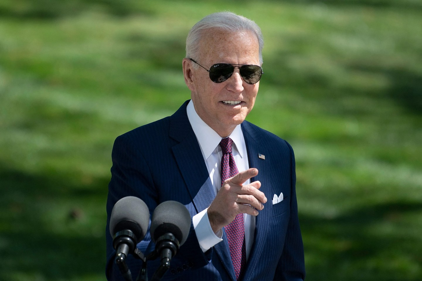 US President Joe Biden speaks about updated CDC guidance on masks for people who are fully vaccinated during an event in front of the White House April 27, 2021, in Washington, DC.